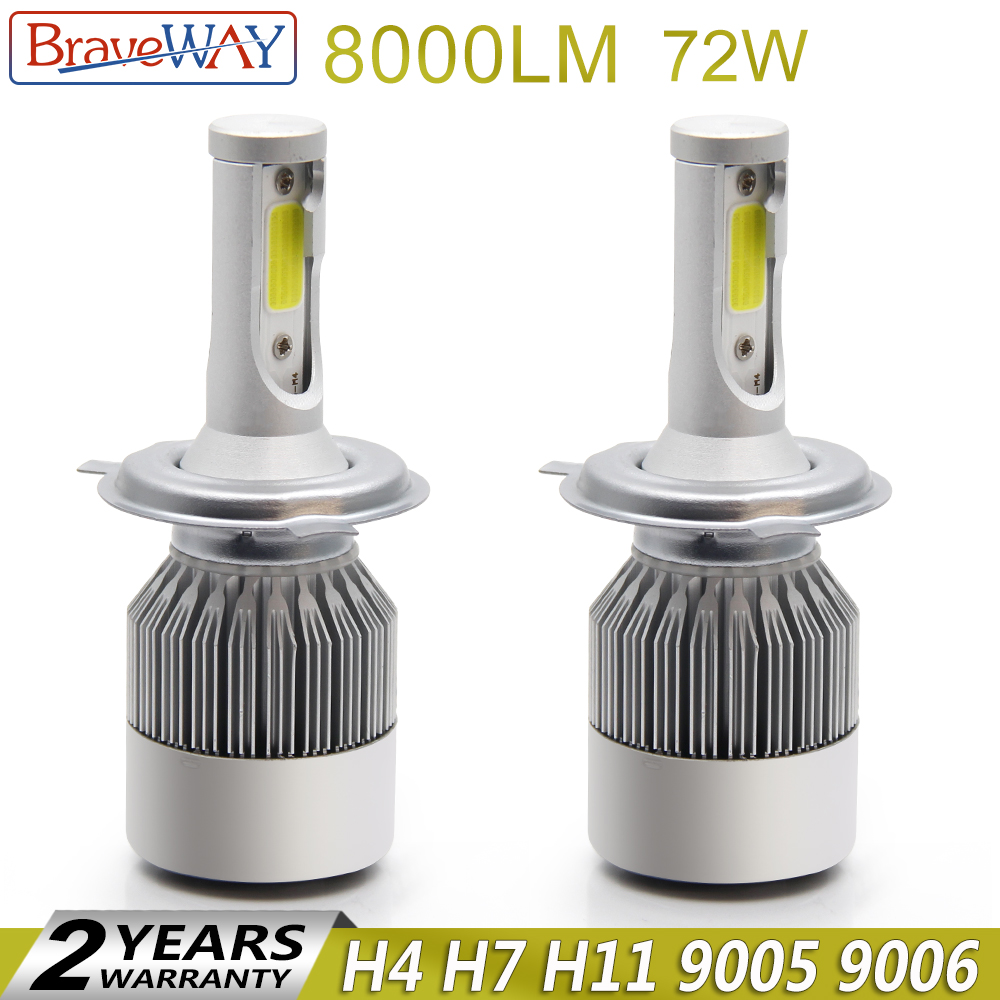 BraveWay H4 Led Phare Led H4 Ampoule Auto Lampe Led H7 H11 H13 9006 hb4 Led Ampoules Tous pour Voiture brouillard Lumière H11 Glace Lampe pour Auto