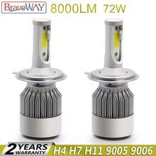 BraveWay H4 светодио дный фар светодио дный H4 лампа авто лампы светодио дный H7 H11 H13 9006 hb4 светодио дный луковицы все для автомобилей противотуманные H11 Ice лампа для авто
