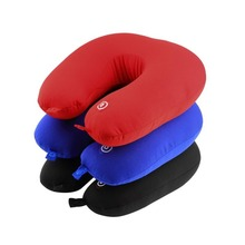 U Shaped Comfortable Neck Pillow Rest Neck Massage Airplane Car Travel Pillow Bedding Microbead Battery Operated Vibrating