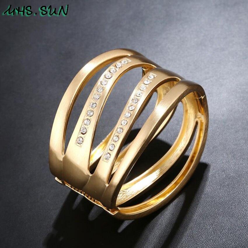 8-3Punk Hollow Ladies Women Bangle Bracelets Fashion Exaggerated Girls Bangles Bracelets European Female Jewelry For Gift