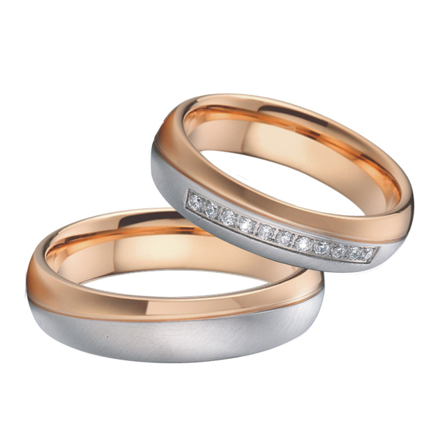 Classic Alliances Mens Wedding Band Promise ring Romantic Rose gold color Couple Engagement Rings for Women