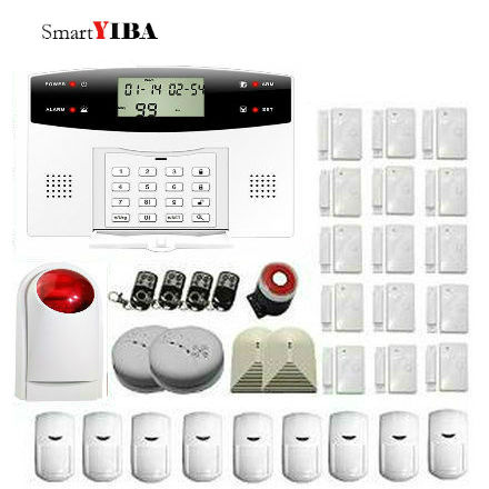 SmartYIBA Alarm System Kit with Auto Dial GSM Home Security Inturder Alarm System Glass Break Sensor Strobe Siren Alarm Kits yobang security gsm wifi auto dial home alarm system rfid tags intelligent alarma kits glass break sensor strobe siren sensor