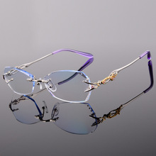 Titanium Eyeglasses Rimless Women Luxury Diamonds Design High Clear Lenses Myopia Glasses Computer Ladies Reading Glasses 618