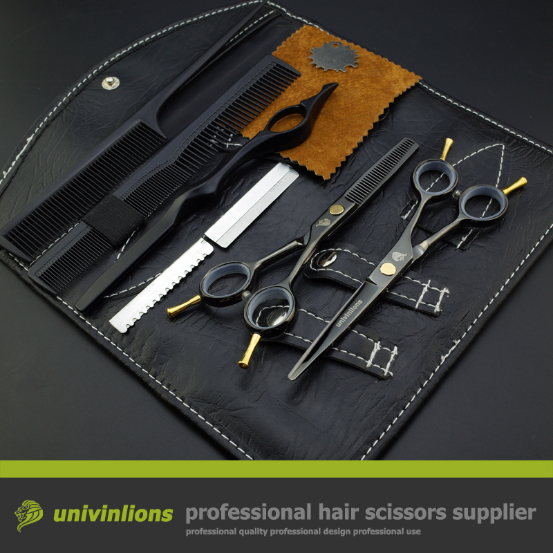 5.5 hot black hair scissors hairdressing scissors cabelereiro teflon scissors thinning shears haircut kit for hairdressers set