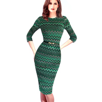 Dropshipping 2015 Womens Celebrity Belted Elegant Vintage Pinup Tunic Business Work Party Bodycon Pencil Sheath Wiggle