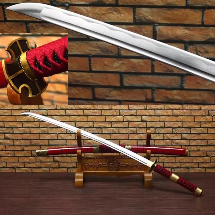 Δωρεάν αποστολή Real Zoro Sword Χειροποίητο 1045 Χάλυβα Anime Ένα κομμάτι Sandai Kitetsu Yubashiri Ιαπωνικά Katana