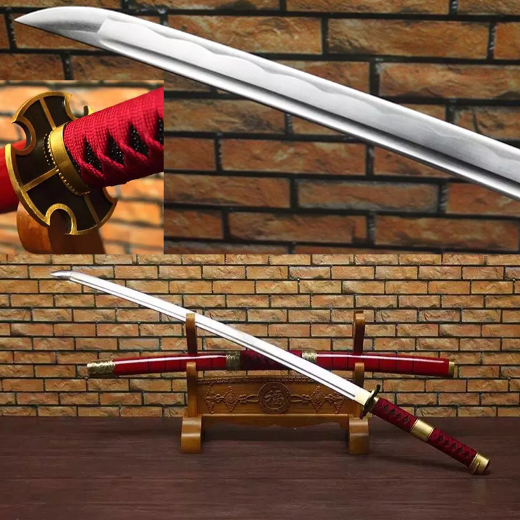 Spedizione gratuita Real Zoro Sword Handmade 1045 Acciaio al carbonio Anime One Piece Sandai Kitetsu Yubashiri Katana giapponese