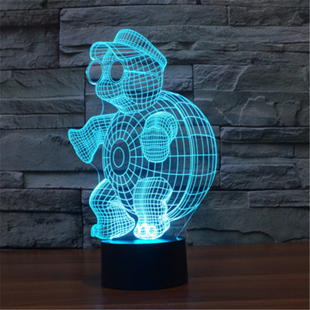 Creative 7 Colors 3D Mr Tortoise Acrylic Visual Light LED Lamp Bedroom Table Decoration Lamps Night Light Kids Gifts 3D-TD119