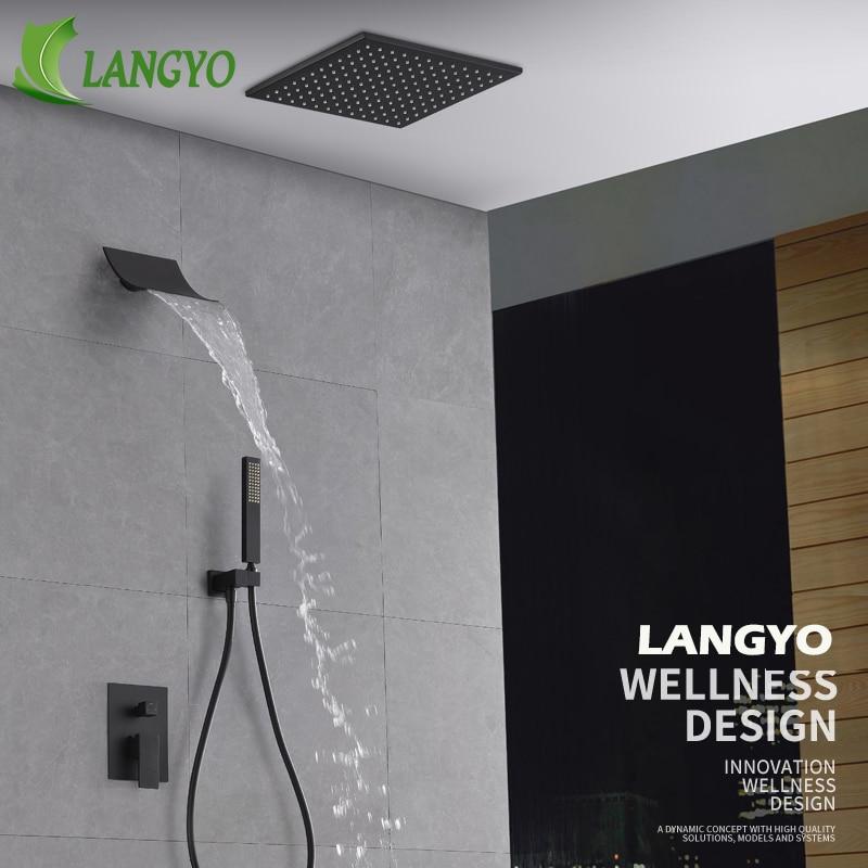 Ensemble de douche de pluie de salle de bains en laiton noir robinet de tête de douche en acier inoxydable 10/12/16 pouces mélangeur de douche à cascade monté en acier inoxydable