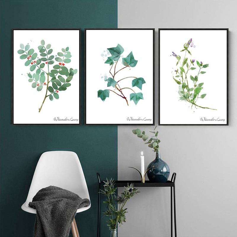 Nordic Ländlichen Aquarell Grüne Blätter Leinwand Malerei Amerikanischer  Anlage Plakat Druck Restaurant Wohnzimmer Skandinavischen Dekorative