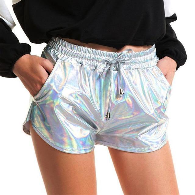 Women Shiny Metallic Hot Shorts 2019 Summer Holographic Wet Look Casual Elastic Drawstring Festival Rave Booty Shorts 51