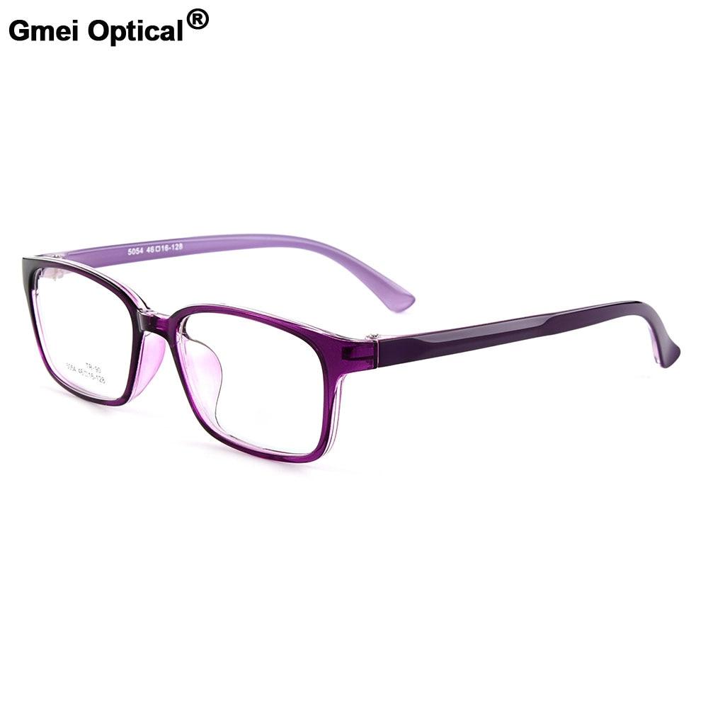 Gmei Optical New Women's Rectangular Urltra-Light TR90 Full Rim Optical Eyeglasses Frames Men's Myopia Spectacles 5 Colors M5054