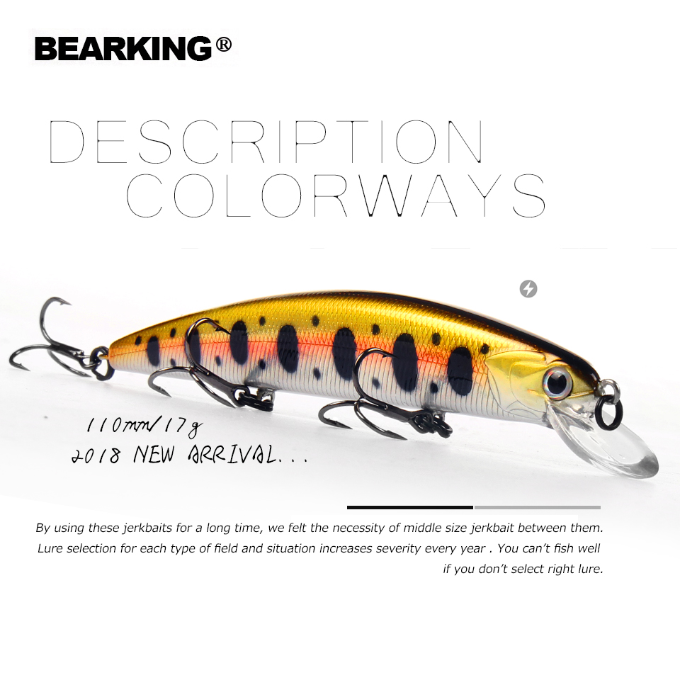 Bearking 11 cm 17g Plongée 1.5 m super poids système longue coulée SP minnow Nouveau modèle de pêche leurres dur qualité des appâts wobblers