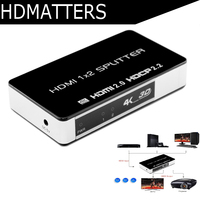 True 4K HDMI 2.0 Splitter amplifider 1X2 HDCP 2.2 3840X2160P/60HZ HDMI 2.0 1 in 2 out for PS4 Pro HDTV Blue DVD