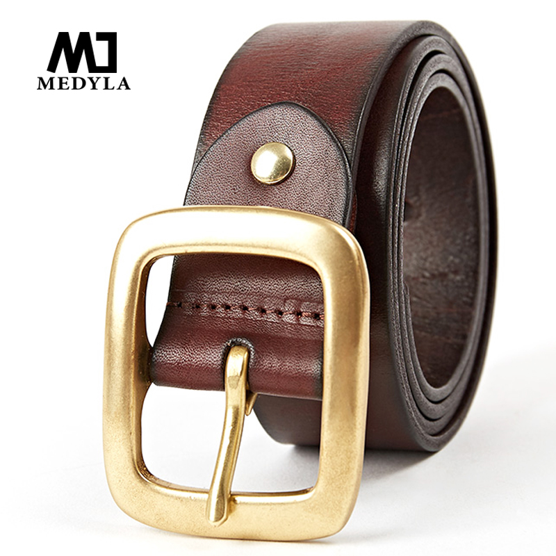 MEDYLA Original cowhide Copper Buckle Belt High Quality Brand Male Belts Cowhide All match Business Casual