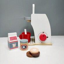 Игрушка для дома, деревянная кофейная машина, комбинация для завтрака, послеобеденный чай, раннее образование, имитационная игрушка для детей, игрушка для шеф-повара