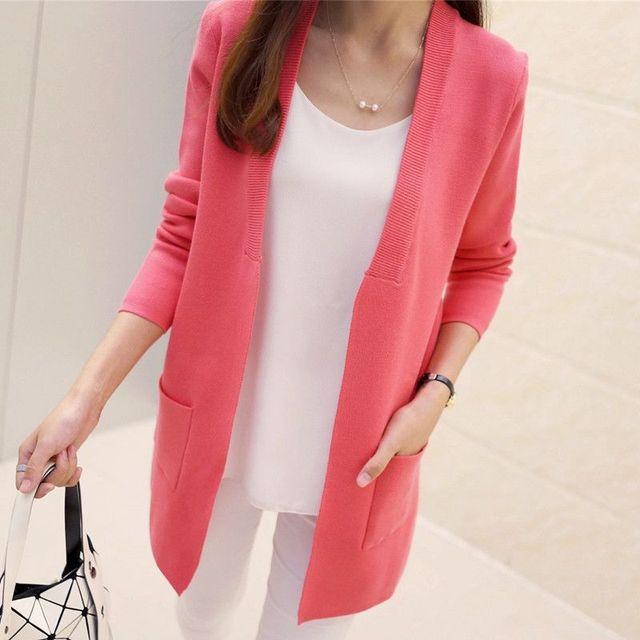 Nueva Primavera y El Otoño Medio-largo de la Rebeca Femenina de Alta Calidad Estilo Coreano Elegante Bolsillo de Punto prendas de Vestir Exteriores del Suéter