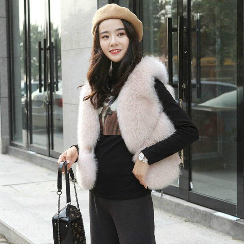 Faux Fur vest Winter Women 2018 New Fashion Casual Warm Slim Sleeveless Faux Fox Fur Vest Winter Jacket Women casaco feminino zapatillas de moda 2019 hombre