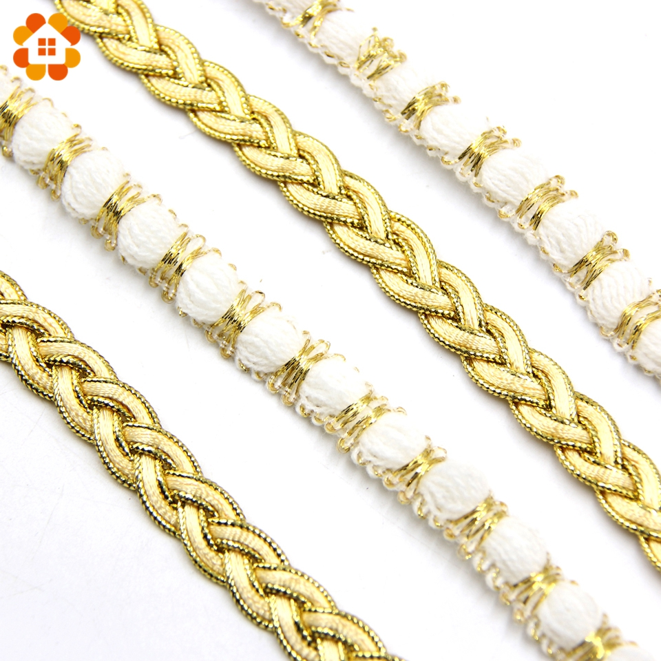 5 jardas/lote 2 estilos de ouro & branco laço fita macio net rendas guarnição tecido para costura acessórios festa casamento suprimentos decoração diy
