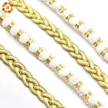5 ярдов/Лот, 2 стиля, Золотая и белая кружевная лента, Мягкая сетчатая кружевная отделка, ткань для шитья, аксессуары для свадебных вечеринок, украшения своими руками