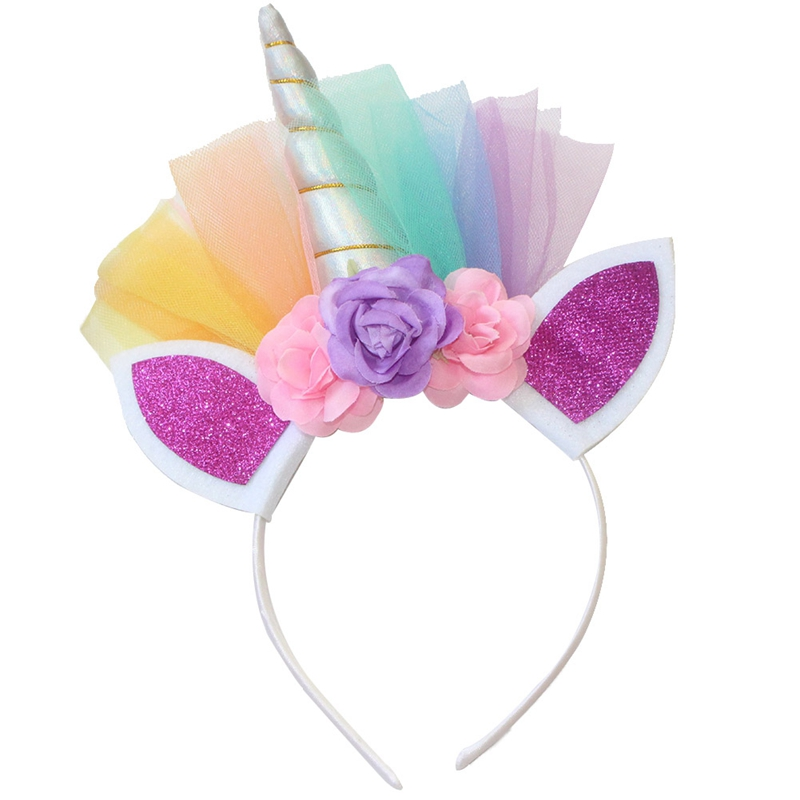 Confident Floral Unicorn Horn Headband With Ears Girls Adult Hairband Costume Fancy Dress Hair Accessories Costumes & Accessories