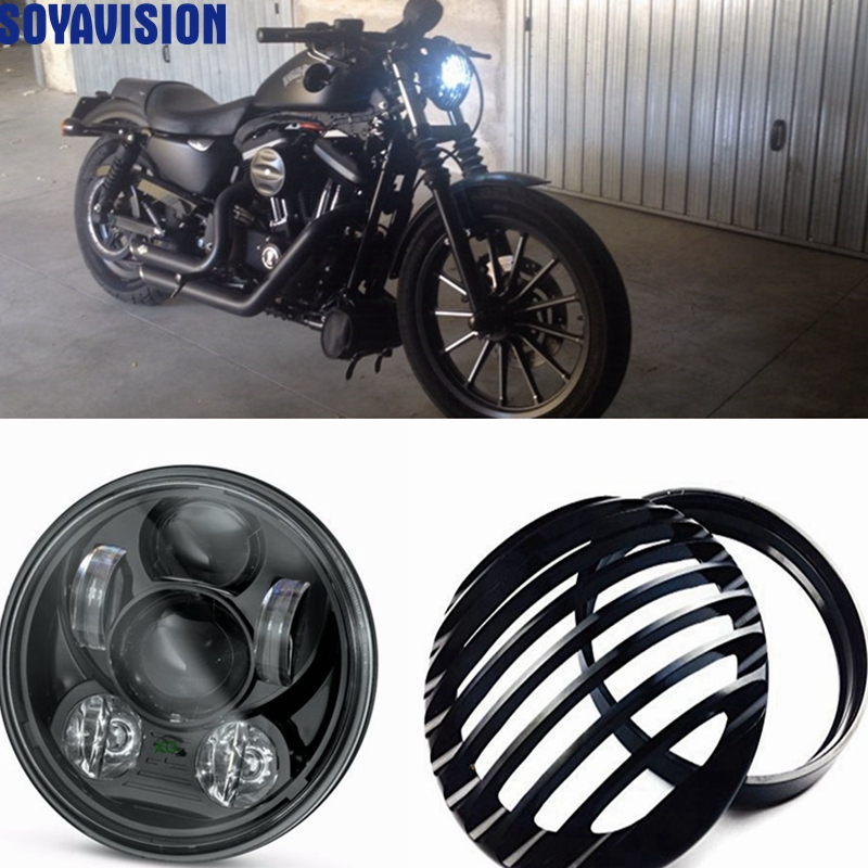 5-34 5.75 Inch Daymaker Projector LED Headlight 5 34 Headlight Grill Cover for Harley Sportster XL 883 1200 Headlight 5 34