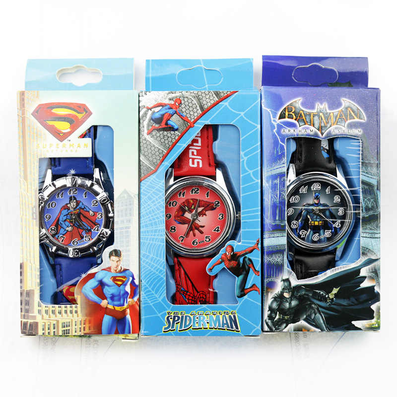 Children's Cartoon Batman Kids Watch Spiderman Ben 10 Supreman Child Watch Boys Leather Strap Quartz Watch Reloj Nino Boy Gift