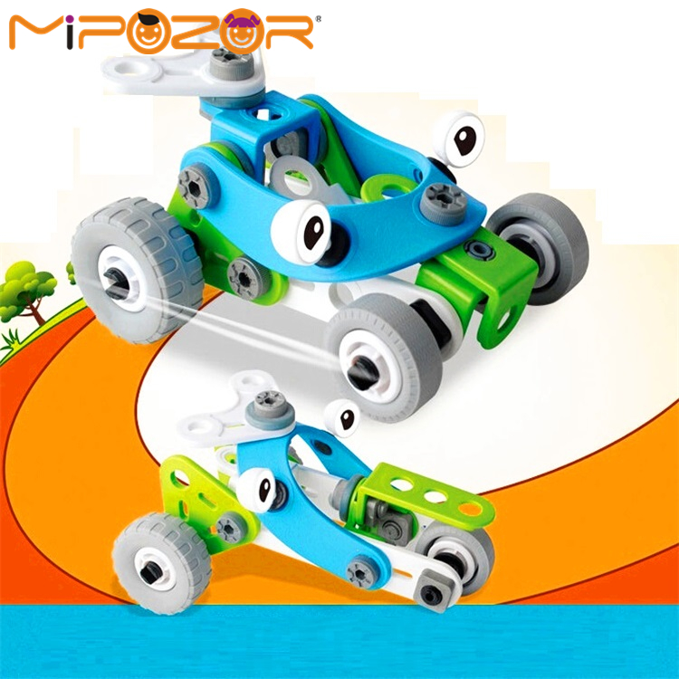 mipozor 51pcs deformable vehicle sets 2 models car educational building blocks assemblage bricks toys for kids