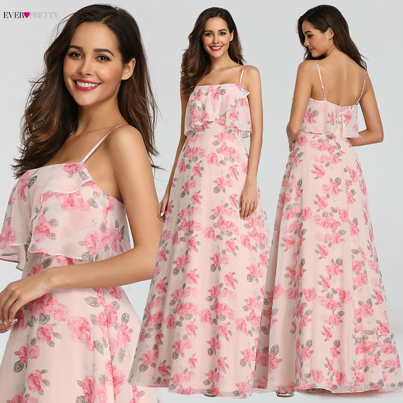 Ever Pretty Design Chiffon Flower Printed   Bridesmaid     Dresses   2019 Girl Strapless Beach Style Wedding Guest   Dress   Long EP07237