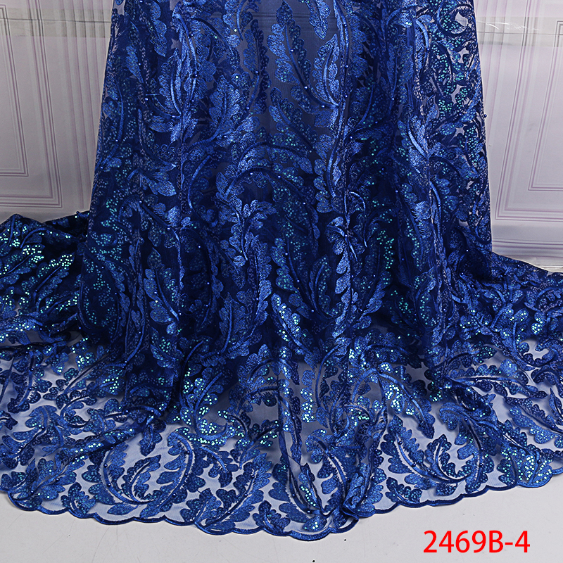 New French Nigerian Sequins Net Lace,African Tulle Mesh Sequence Lace Fabric High Quality For Wedding Dress KS2469B-4