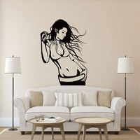 Listening To Music Sexy Woman Personality Fashion Decorative Removable Vinyl Wall Stickers For Bathroom Bedroom