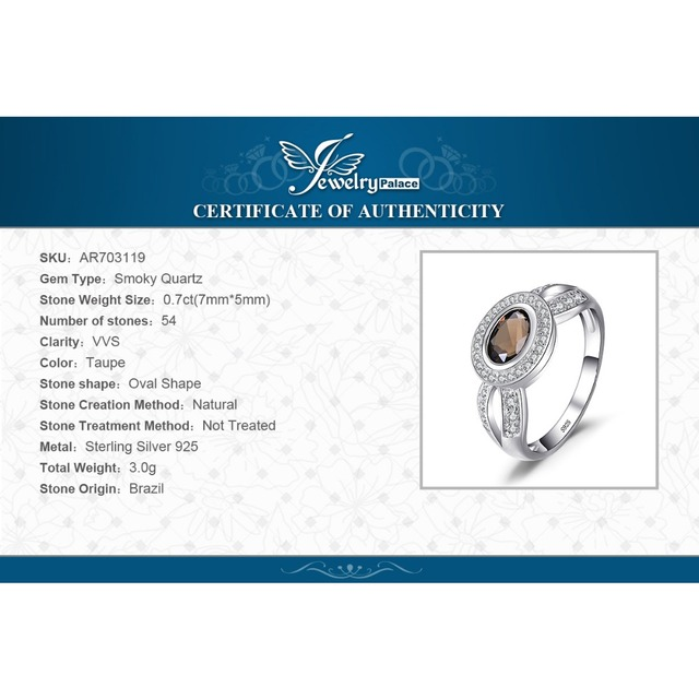 JewelryPalace Luxry 1.09ct Genuine Smoky Quartz Statement Ring Solid 925 Sterling Silver Engagement Ring For Woman Fine Jewelry