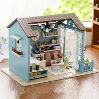 DIY Миниатюрный Кукольный домик Модель деревянная игрушка мини мебель ручной Кукольный дом изысканный дом для кукол подарки игрушки для дет...