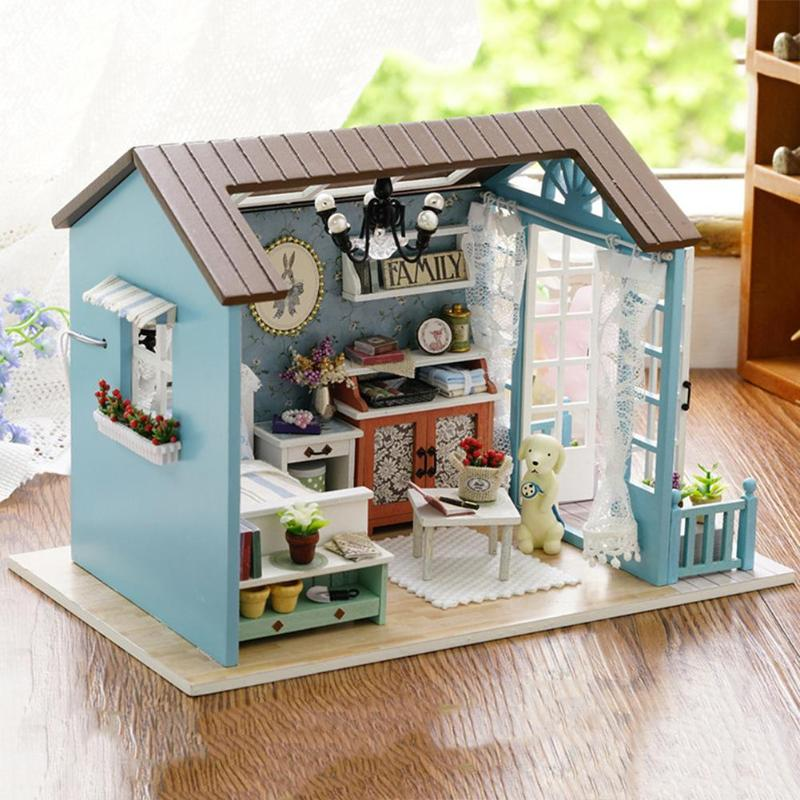 DIY Miniature Dollhouse Model Wooden Toy mini Furniture Hand-made doll house exquisite house for dolls gifts toys for children image