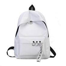 Backpack Womens Female Korean Version Fashion Nylon Ring Decoration Shoulder Bookbags Satchel