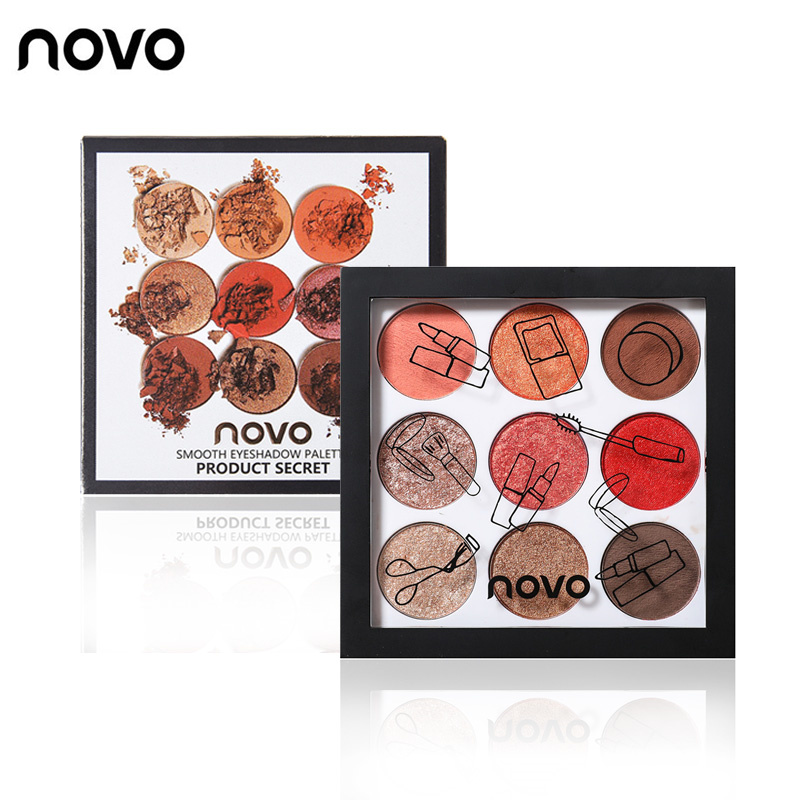 NOVO fashion 9color matte eyeshadow palette pearl natural glitter Naked makeup earth color eye shadow Beauty party gift