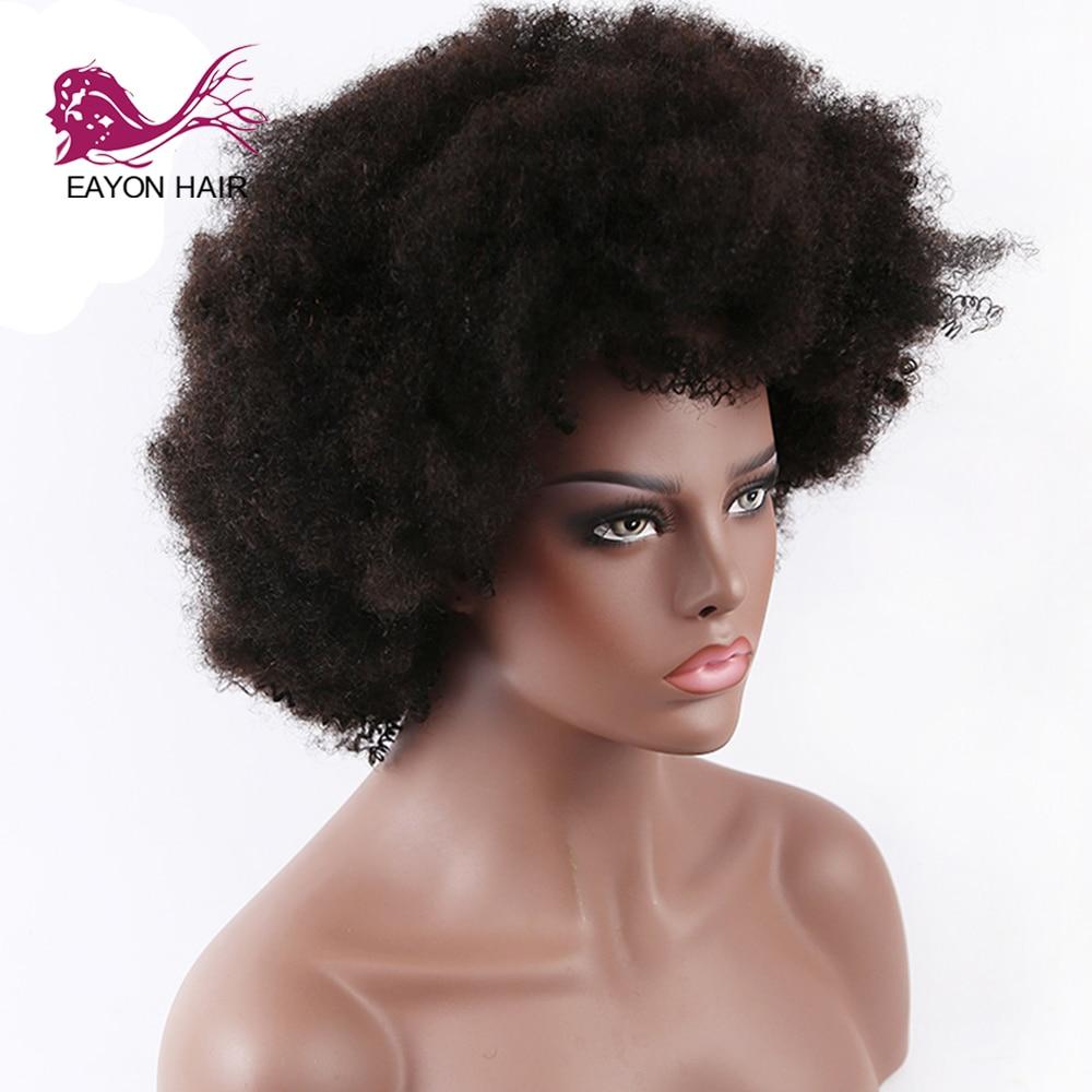Женский парик из натуральных волос EAYON, черный парик из натуральных волос, 10 дюймов - 2