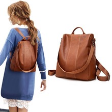 Women Female PU Leather Anti-theft Backpack Classic Solid Co