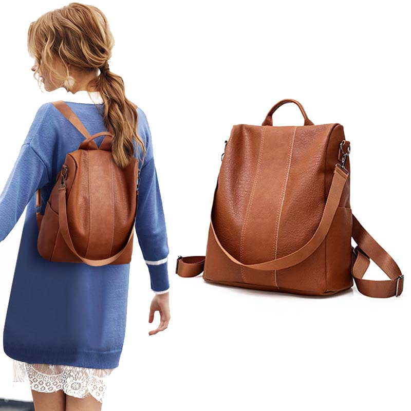 Women Female PU Leather Anti-theft Backpack Classic Solid Color Zipper Large Capacity Fashion Shoulder Bags Hair Ball School Bag