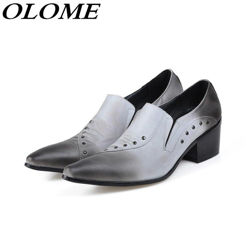 Zapatos Festa Hombre Italiano De Do Deslizar Sobre Sapatos Dedo Oxford Rebites Alto Casamento Salto Couro Pontas Homens Vestir Pé Mens aq5U7Hxwx