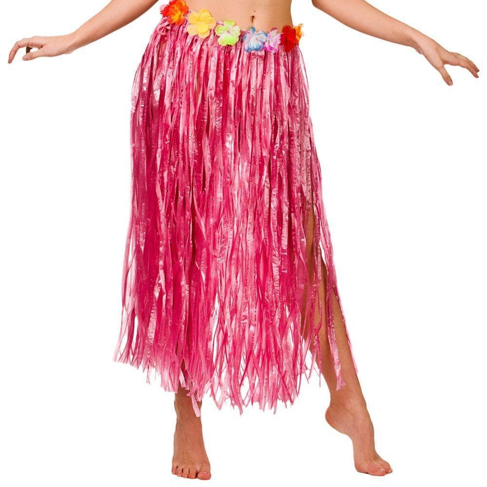 Hawaiian Hula Grass Flower Party Luau Skirt Beach Dance Costume 80cm Long Skirt