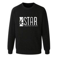 The Flash Star Lab Letters Printing Students Sweatshirt Men Autumn Round Neck Hoodies Casual Pullovers Brand