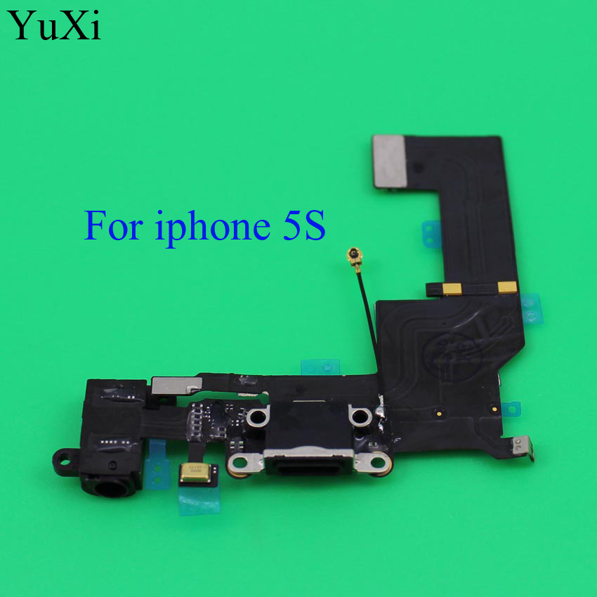 YuXi New High Quality Charger Charging Port Dock USB Connector Data Flex Cable For iphone 5S Ribbon Replacement Parts