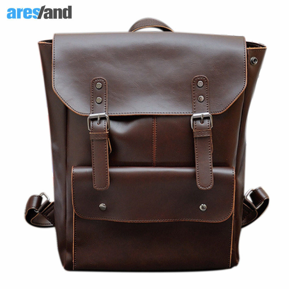 tiding crazy horse leather one shoulder pack cross body travel bag for men women 3141 Unisex Retro  Crazy Horse PU Leather Backpack for Women Men Back pack Preppy Style Shoulder Bag Ladies School Bag Travel Coffee