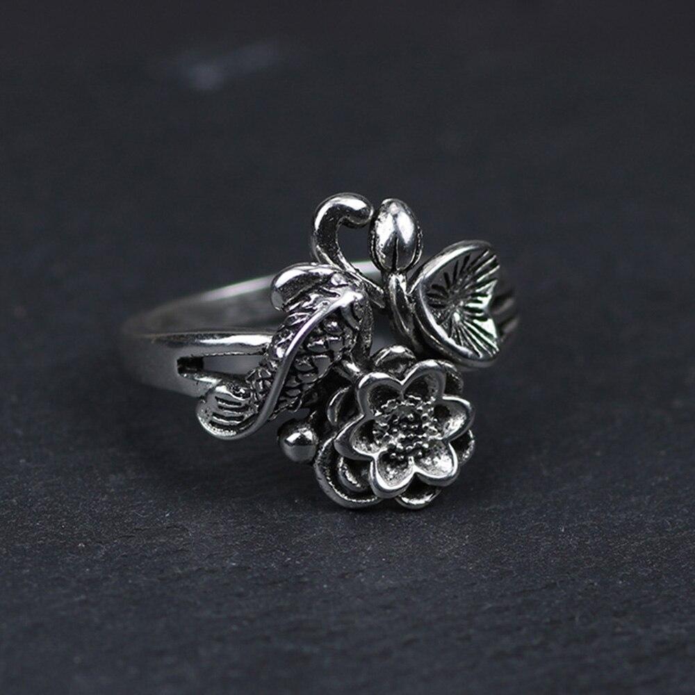 925 Sterling Silver Lotus Flowers Ring