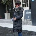 2016 Marca Invierno de Los Niños del pato abajo Prendas de Abrigo y Abrigos de piel a largo modelo Chica caliente Abajo chaquetas abrigos bebé Caliente chaqueta chica abajo