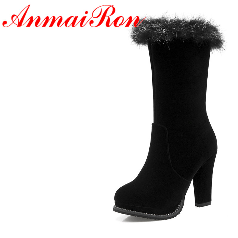 ANMAIRON Fashion High Heels Classic Shoes Woman Mid-calf Bootsfor Women Short Boots Round Toe Platform Shoes Large Size 34-43 selected novels of george eliot
