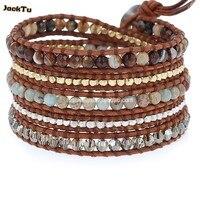 Aqua terra mengen van coupes wrap armband op natuurlijke bruin leer