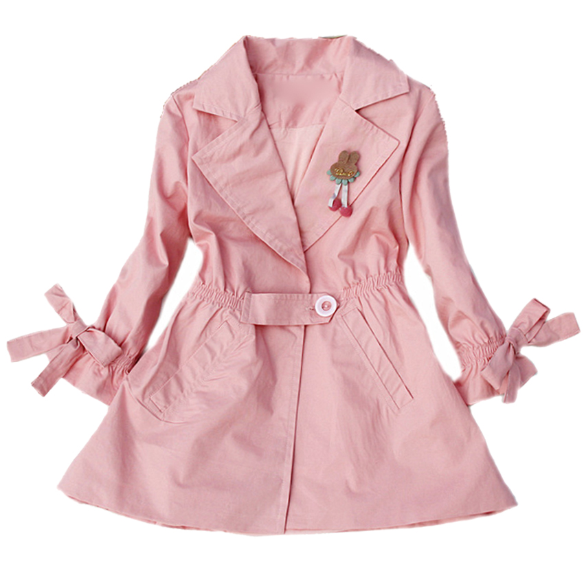 Toddlers Jackets For Girls Trench Coats Turn-Down Collar Baby Windbreakers Teenage Girls Outerwear 18M 2 4 6 8 10 11 12 14 Years