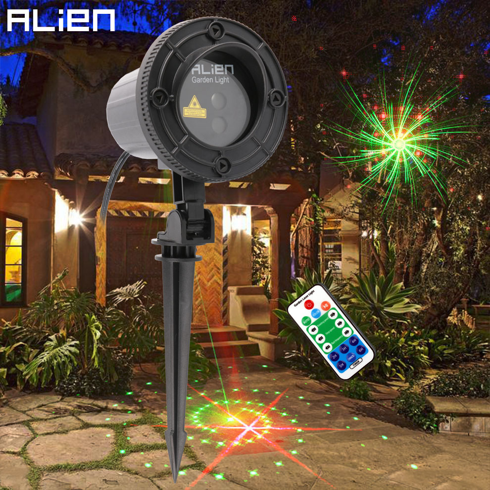 цены на ALIEN Remote Moving RG 12 Patterns Outdoor Christmas Laser Lights Garden Waterproof Xmas Tree Holiday Laser Projector Lighting в интернет-магазинах